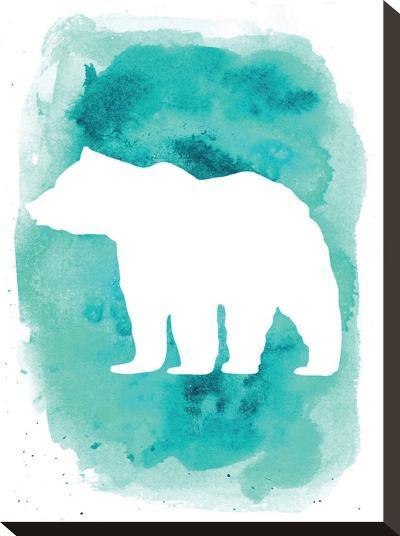 Watercolor Aqua Bear-Jetty Printables-Stretched Canvas Print