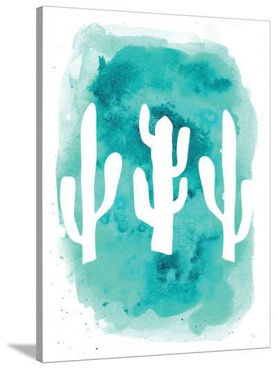 Watercolor Aqua Cactus-Jetty Printables-Stretched Canvas Print