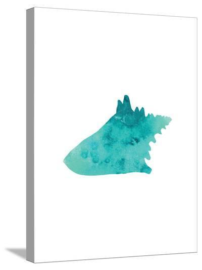 Watercolor Aqua Conch-Jetty Printables-Stretched Canvas Print
