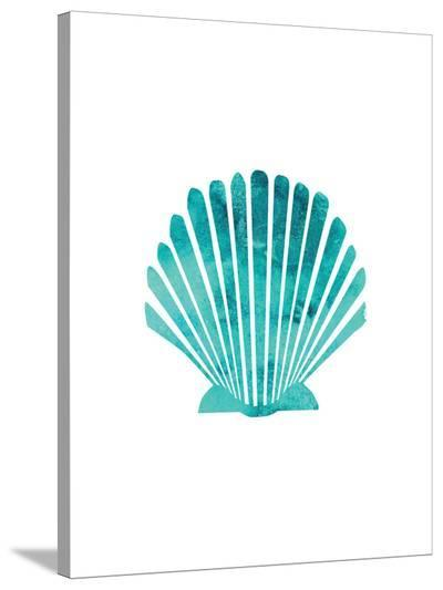 Watercolor Aqua Scallop Shell-Jetty Printables-Stretched Canvas Print