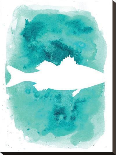 Watercolor Aqua Sea Bass-Jetty Printables-Stretched Canvas Print