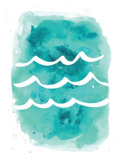 Watercolor Aqua Waves-Jetty Printables-Art Print