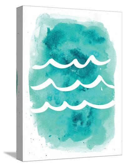 Watercolor Aqua Waves-Jetty Printables-Stretched Canvas Print