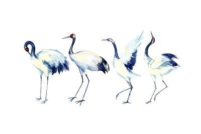 Watercolor Asian Crane Bird Set-tanycya-Art Print