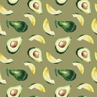 Watercolor Avocado Pattern-lenavetka87-Art Print