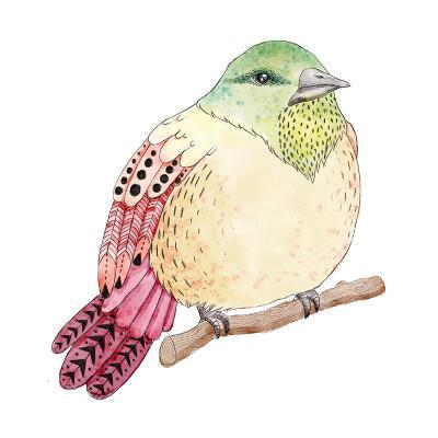 Watercolor Birds Illustration. Hand Drawn Sketch-Maria Sem-Art Print