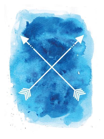 Watercolor Blue Background Arrow-Jetty Printables-Art Print