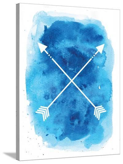 Watercolor Blue Background Arrow-Jetty Printables-Stretched Canvas Print