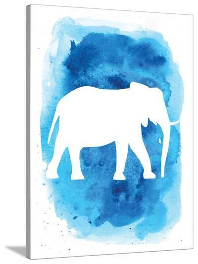 Watercolor Blue Background Elephant-Jetty Printables-Stretched Canvas Print