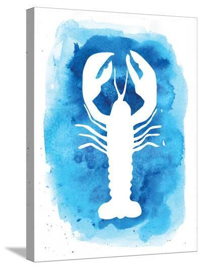 Watercolor Blue Background Lobster-Jetty Printables-Stretched Canvas Print