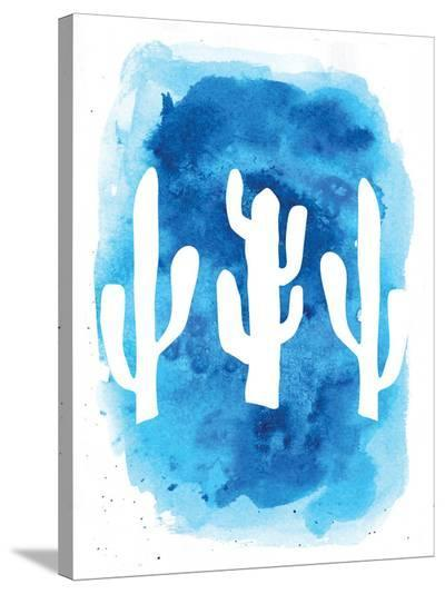 Watercolor Blue Cactus-Jetty Printables-Stretched Canvas Print