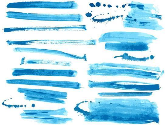 Watercolor Blue / Ink Brush Strokes Collection-Danussa-Art Print