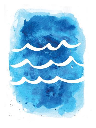 Watercolor Blue Waves-Jetty Printables-Art Print