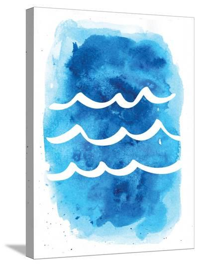 Watercolor Blue Waves-Jetty Printables-Stretched Canvas Print