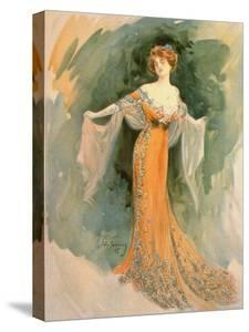 Watercolor by Felix Fournery from French Periodical Les Modes Showing Fashionable Woman in Paquin