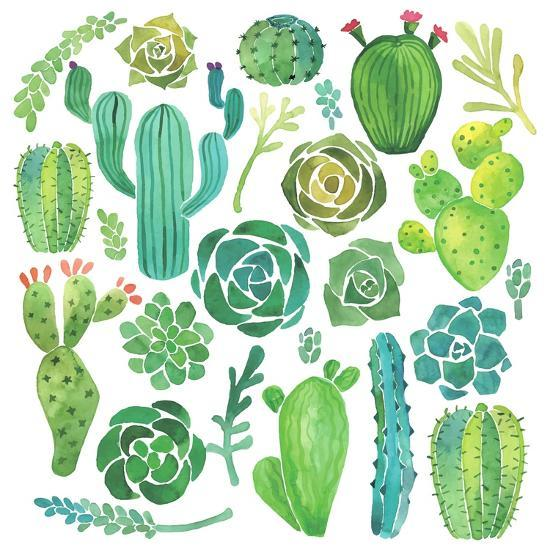 Watercolor Cactus and Succulent Set-Nadydy-Art Print
