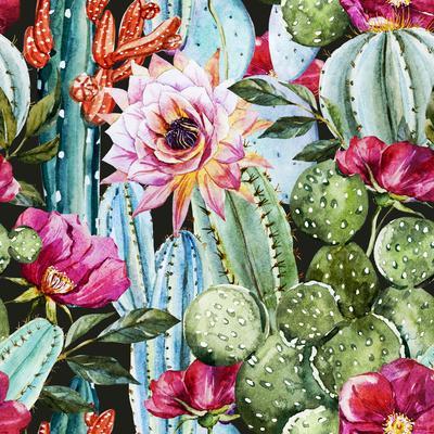 Watercolor Cactus Pattern-Zenina-Art Print