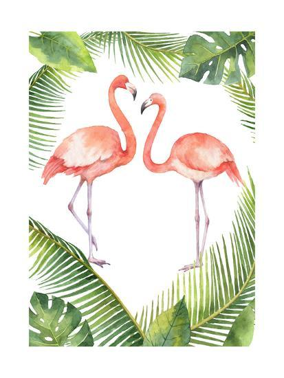 Watercolor Card of Tropical Leaves and the Pink Flamingo Isolated on White Background. Illustration-Elena Medvedeva-Art Print