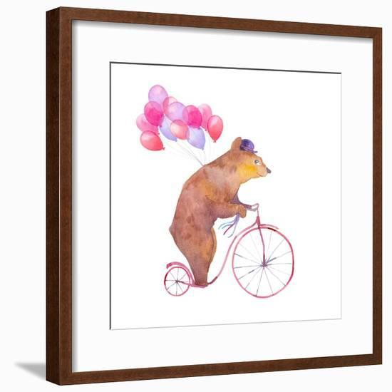 Watercolor Cartoon Bear on Retro Bicycle with Air Balloons. Hand Drawn Fairytale Animal with Hat An-Eisfrei-Framed Premium Giclee Print