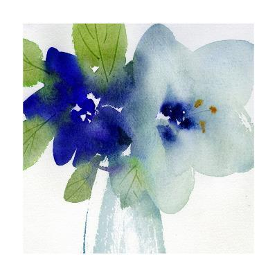 Watercolor Close-Up of Flowers with Leaves--Art Print