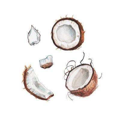 Watercolor Coconut Set-lenavetka87-Art Print
