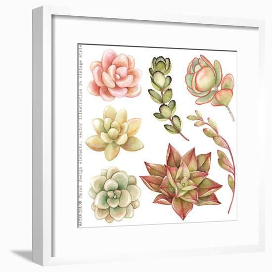 Watercolor Collection of Succulents and Kalanchoe for Your Design, Hand-Drawn Illustration.-Nikiparonak-Framed Premium Giclee Print
