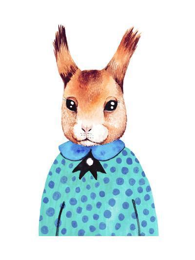 Watercolor Cute Hipster Squirrel. Hand Drawn Fashion Animal Illustration.-Maria Sem-Art Print