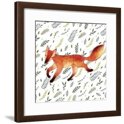 Watercolor Cute Running Fox with Green Leaves. Hand Drawn Illustration. Seamless Pattern-Maria Sem-Framed Premium Giclee Print