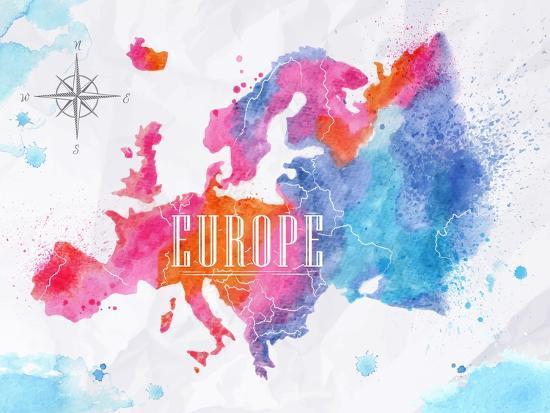 Watercolor Europe Map Pink Blue-anna42f-Art Print
