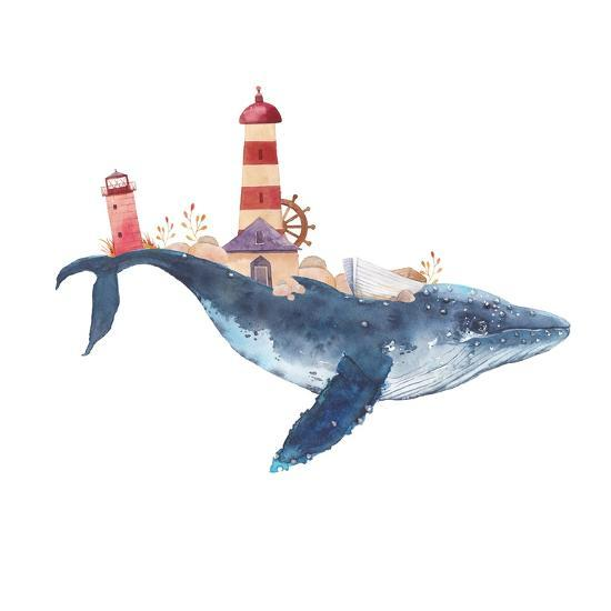 Watercolor Fantasy Blue Sea Whale with Lighthouse-Eisfrei-Art Print