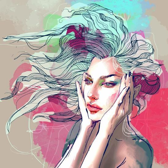 Watercolor Fashion Illustration with a Beautiful Lady with Decorative Hair-A Frants-Art Print