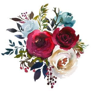Watercolor Floral Bouquet Burgundy Bordo Red Navy Blue Roses Peonies Leaves Isolated on White Backg