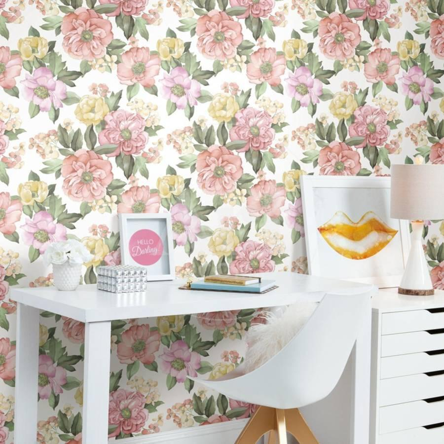 Watercolor Floral Bouquet Removable Wallpaper Wall Decal By Art Com