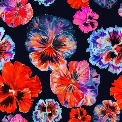 Watercolor Floral Pattern. Colorul Pansies Isolated on Dark Background. Red Blue Flowers-Firsart-Art Print