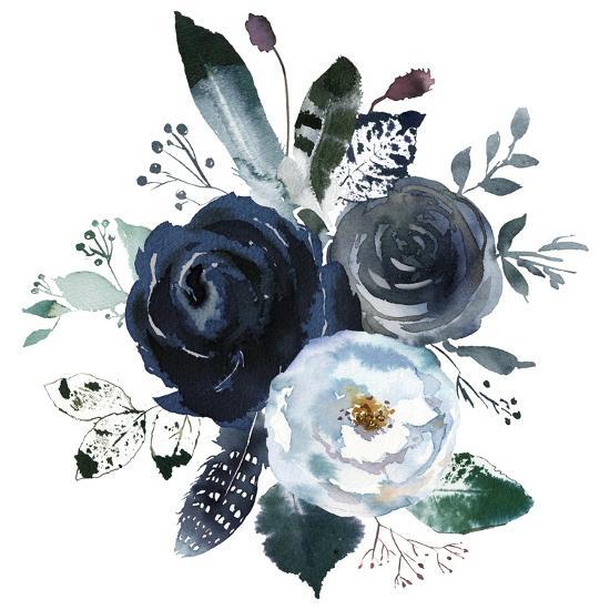 Watercolor Floral Wreath Roses Peonies Leaves Boho Grey Navy White Indigo Blue Isolated On White Ba Art Print By Yuliya Podlinnova Art Com