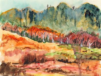 Watercolor Forest-jim80-Art Print