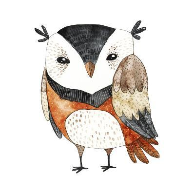 Watercolor Funny Kids Illustration with Owl. Hand Drawn Animal Drawing. Owl Bird Painting. Perfect-Maria Sem-Art Print