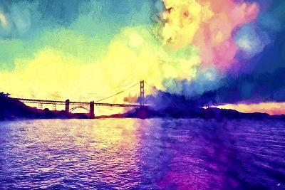 Watercolor Golden Gate Bridge-Philippe Hugonnard-Giclee Print