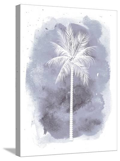 Watercolor Gray B Palm-Jetty Printables-Stretched Canvas Print