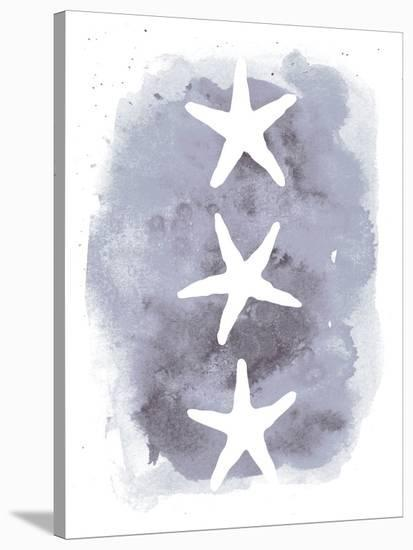 Watercolor Gray Background Starfish-Jetty Printables-Stretched Canvas Print