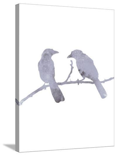 Watercolor Gray Birds-Jetty Printables-Stretched Canvas Print