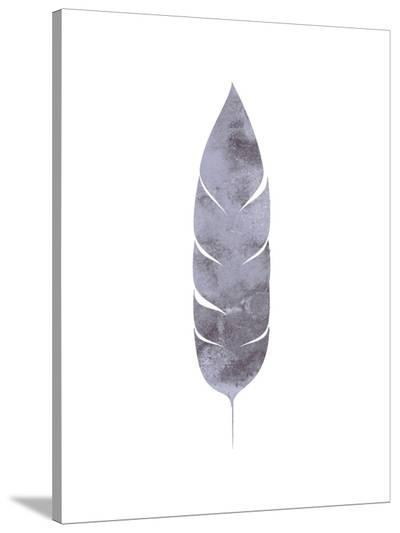 Watercolor Gray Feather-Jetty Printables-Stretched Canvas Print
