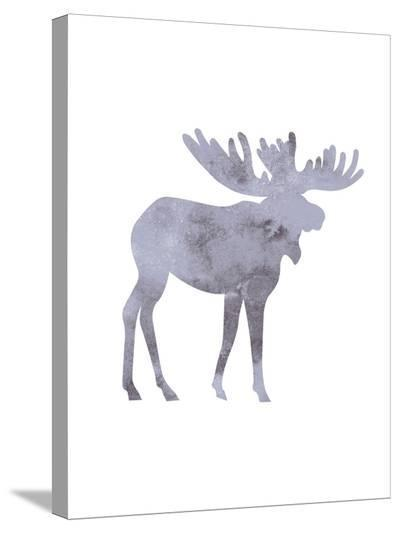 Watercolor Gray Moose-Jetty Printables-Stretched Canvas Print