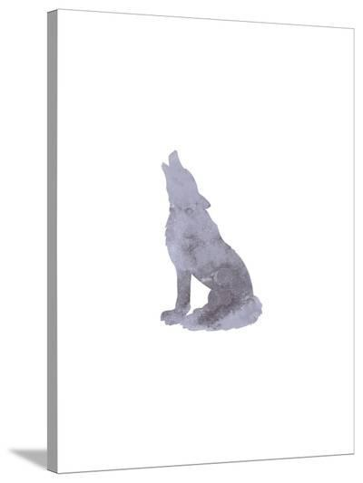 Watercolor Gray Wolf-Jetty Printables-Stretched Canvas Print