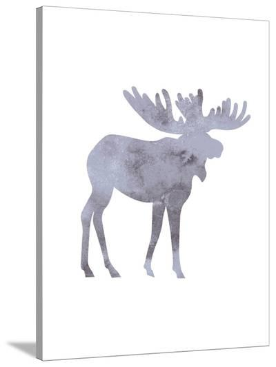 Watercolor Grey Moose-Jetty Printables-Stretched Canvas Print