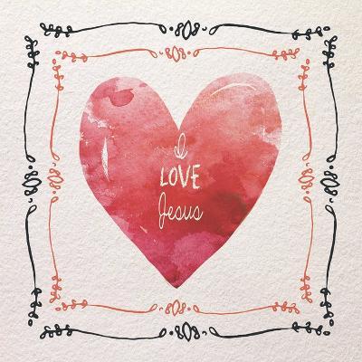 Watercolor Heart I Love Jesus-Color Me Happy-Art Print
