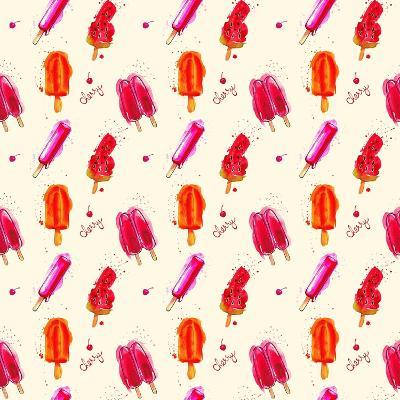 Watercolor Ice Cream Popsicle Seamless Pattern. Hand Drawn Seamless Texture for Invitations, Cards,- artsandra-Art Print