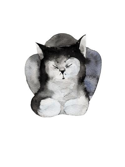 Watercolor Illustration of Cat for Postcard. Hand Drawn Painting Domestic Animals.-Kat_Branch-Art Print
