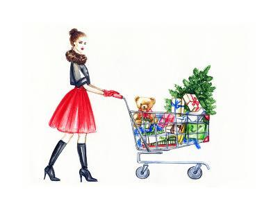 Watercolor Illustration of Lady with Shopping Cart-Anna Ismagilova-Art Print