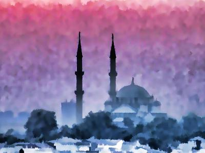 Watercolor Istanbul-Baloncici-Art Print